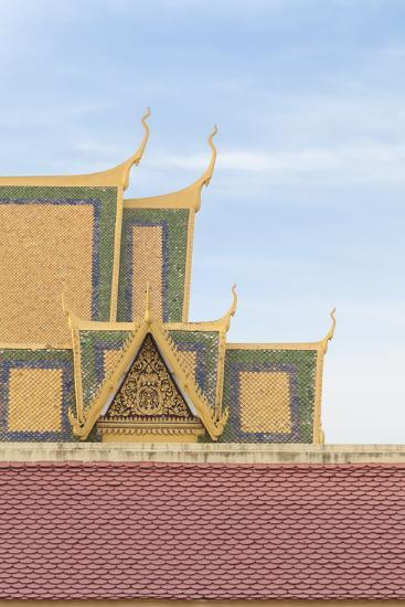 Roofs at the Royal Palace Complex, with the Silver Pagoda One at the Top, Phnom Penh, Cambodia--Photographic Print