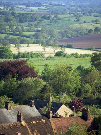 Roofs of Houses in Shaftesbury and Typical Patchwork Fields Beyond, Dorset, England, United Kingdom-Julia Bayne-Photographic Print