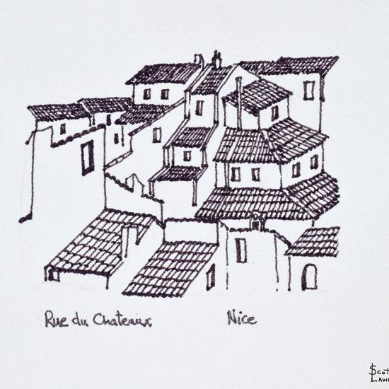 Rooftops of the old city along Rue de Chateaux, Nice, France-Richard Lawrence-Photographic Print