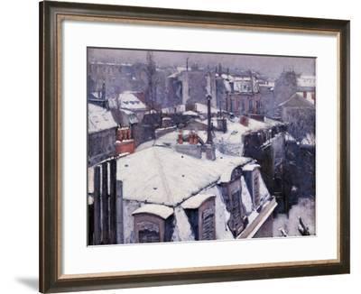 Rooftops under the Snow, Paris-Gustave Caillebotte-Framed Art Print