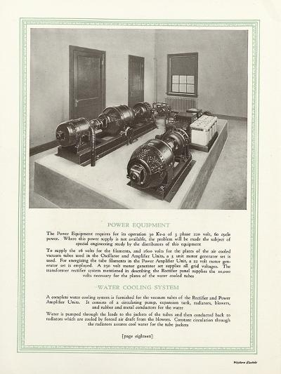 Room Equipped with Western Electric Company's Power Equipment and Water Cooling System--Giclee Print