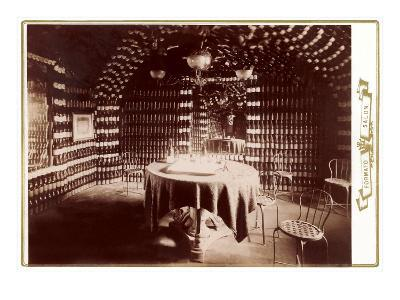 Room Made of Wine Bottles with Table--Art Print