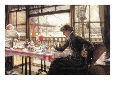 Room with a Glance From The Port-James Tissot-Art Print