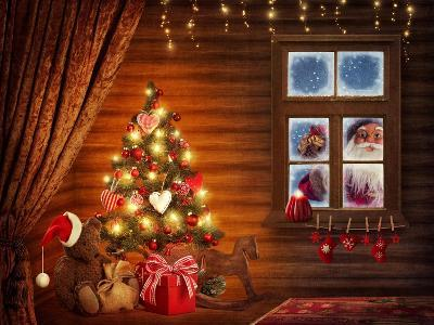 Room With Christmas Tree-egal-Art Print