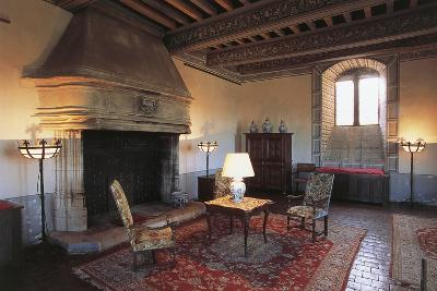 Room with Fireplace, Chateau of Septeme, Rhone-Alpes, France--Photographic Print