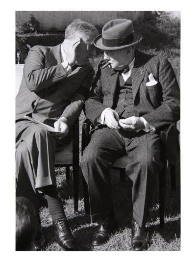 Roosevelt and Churchill Deep in Conversation at the Casablanca Conference, Morocco, January 1943--Giclee Print