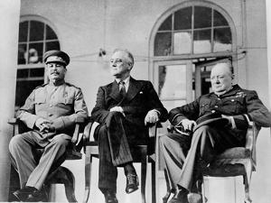 Roosevelt, Stalin, and Churchill at the Teheran conference, 1943
