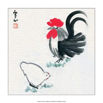 Rooster and Chicken--Art Print