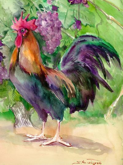 Rooster And Grapes-Suren Nersisyan-Art Print