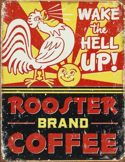 Rooster Brand Coffee Distressed--Tin Sign