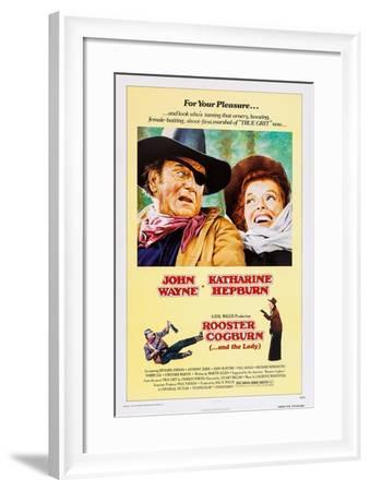 ROOSTER COGBURN, John Wayne, Katharine Hepburn, 1975--Framed Art Print