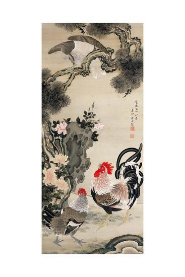 Rooster, Hen and a Falcon-Jakuchu Ito-Giclee Print