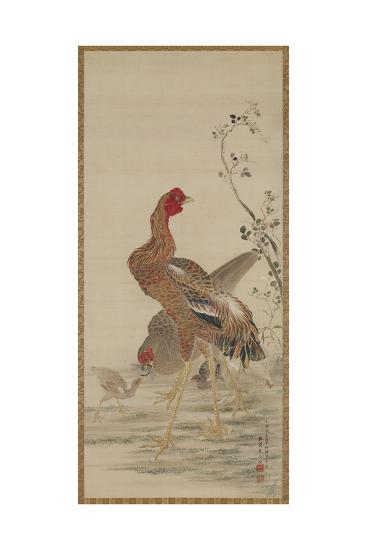 Rooster, Hen and Chicks, Edo Period-Kishi Ganku-Giclee Print