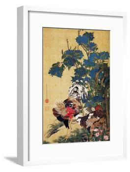 Rooster, Hen and Hydrangea-Jakuchu Ito-Framed Giclee Print