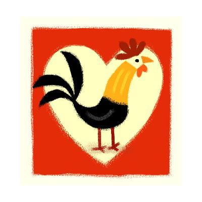 Rooster in Front of Heart--Art Print