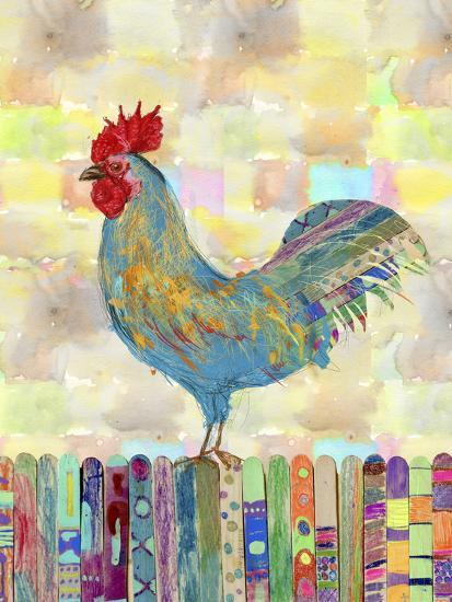 Rooster on a Fence II-Ingrid Blixt-Art Print