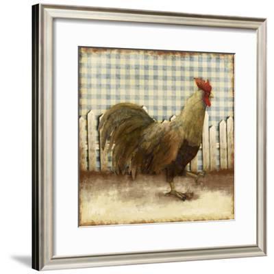 Rooster on Damask I-Dan Meneely-Framed Art Print