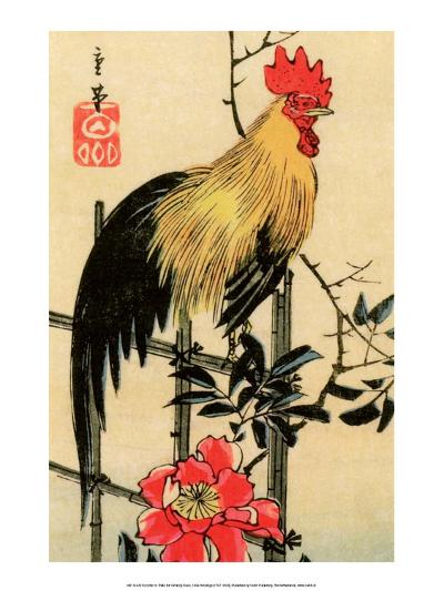 Rooster on Trellis for Climbing Rose, 1854-Utagawa Hiroshige-Art Print