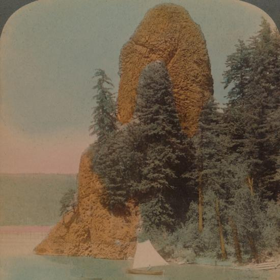 Rooster Rock, curious rock formation along the Columbia River, Oregon', 1902-Elmer Underwood-Photographic Print