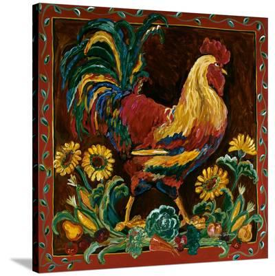 Rooster Rustic-Suzanne Etienne-Stretched Canvas Print