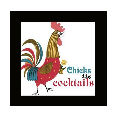 Rooster with Flower--Art Print