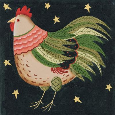 Rooster with Stars in Background Bordered-Beverly Johnston-Giclee Print