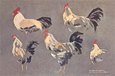 Roosters and Hens--Art Print