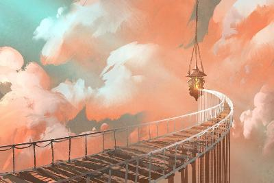 Rope Bridge Leading to the Hanging Lantern in a Clouds,Illustration Painting-Tithi Luadthong-Art Print