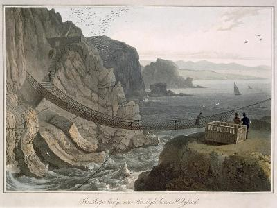 Rope Bridge Near the Lighthouse, Holyhead, c.1829-Thomas & William Daniell-Giclee Print