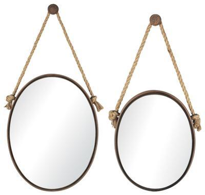 Rope-Hung Mirror Pair - Oval