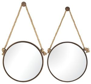 Rope-Hung Mirror Pair - Round