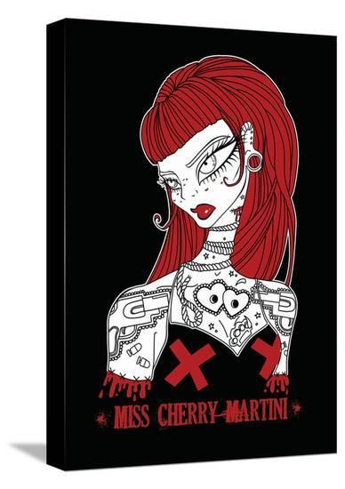 Roped-Miss Cherry Martini-Stretched Canvas Print