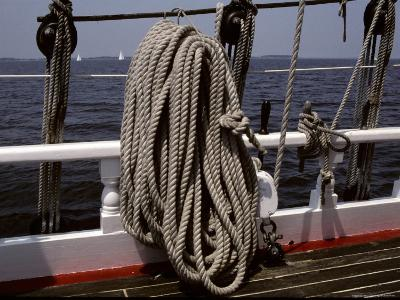Ropes and Rigging on a Windjammer Sailing Ship-Stephen St^ John-Photographic Print