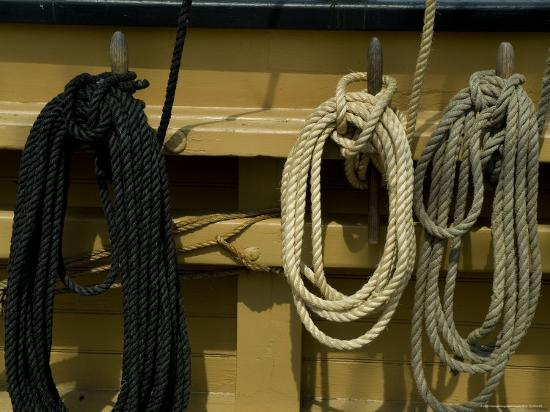 Ropes Hanging on Hooks on an Old Wooden Tall Ship-Todd Gipstein-Photographic Print
