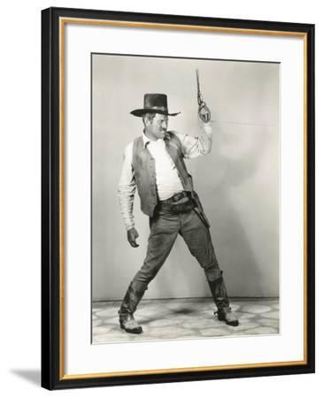 Roping in Cowboy--Framed Photo