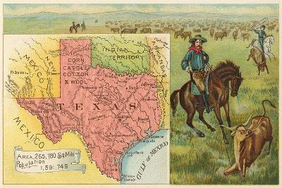 Roping Longhorn, Map--Art Print