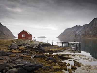 Rorbu and Jetty on Fjord, Lofoten Islands, Norway, Scandinavia, Europe-Purcell-Holmes-Photographic Print