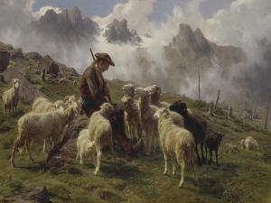 Berger des Pyrénées donnant du sel à ses moutons by Rosa Bonheur
