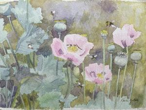 Pink Poppies with Bees by Rosalie Bullock