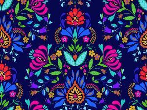 Seamless Floral Folk Pattern. Slavic European Style, Bright Colors, Dark Background. Decorative Flo by rosapompelmo