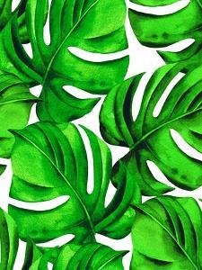 Seamless Monstera Leaves Pattern. Tropical Palm Leaves in Allover Composition. Design for Fashion O by rosapompelmo