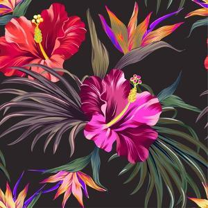 Seamless Vector Tropical Pattern. Vintage Style Hibiscus Flowers, Bird of Paradise, and Palm Leaves by rosapompelmo