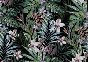 Tropical Floral Print. Variety of Jungle and Island Flowers in Bouquets in a Dark Exotic Print. All by rosapompelmo