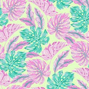 Vector Tropical Pattern with Exotic Leaves by rosapompelmo