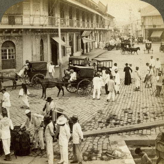 Rosario Road and Binondo Church, Manila, Philippines-Underwood & Underwood-Photographic Print