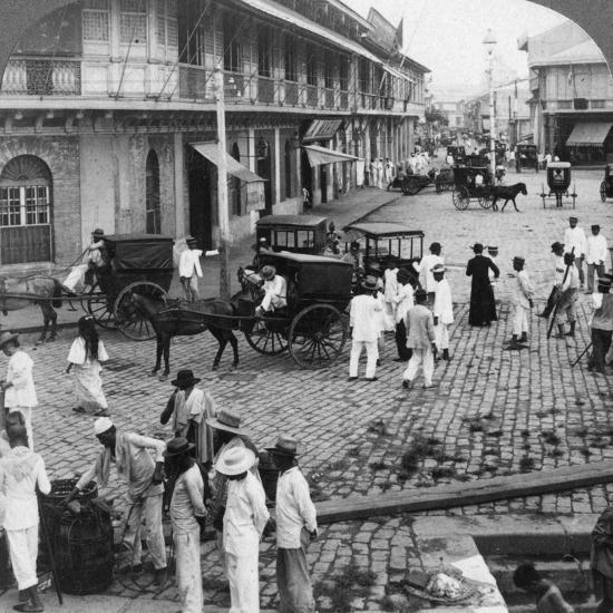 Rosario Street and Binondo Church as Seen from Pasig River, Manila, Philippines, 1899-Underwood & Underwood-Photographic Print