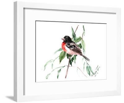 Rose Crested_Grosbreak-Suren Nersisyan-Framed Art Print