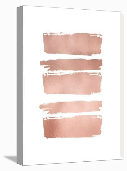 Rose Gold Brush Strokes--Stretched Canvas Print