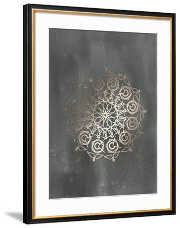 Rose Gold Foil Mandala III on Black Wash-Chariklia Zarris-Framed Art Print