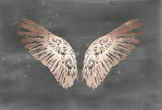 Rose Gold Foil Wings II on Black Wash-Ethan Harper-Art Print